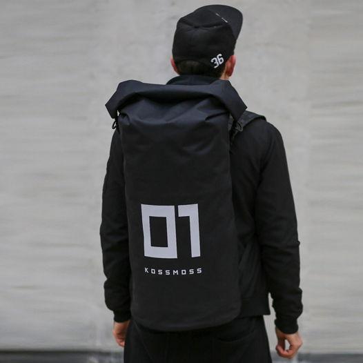 Большой черный рюкзак со светоотражающим принтом / 01 Black Backpack