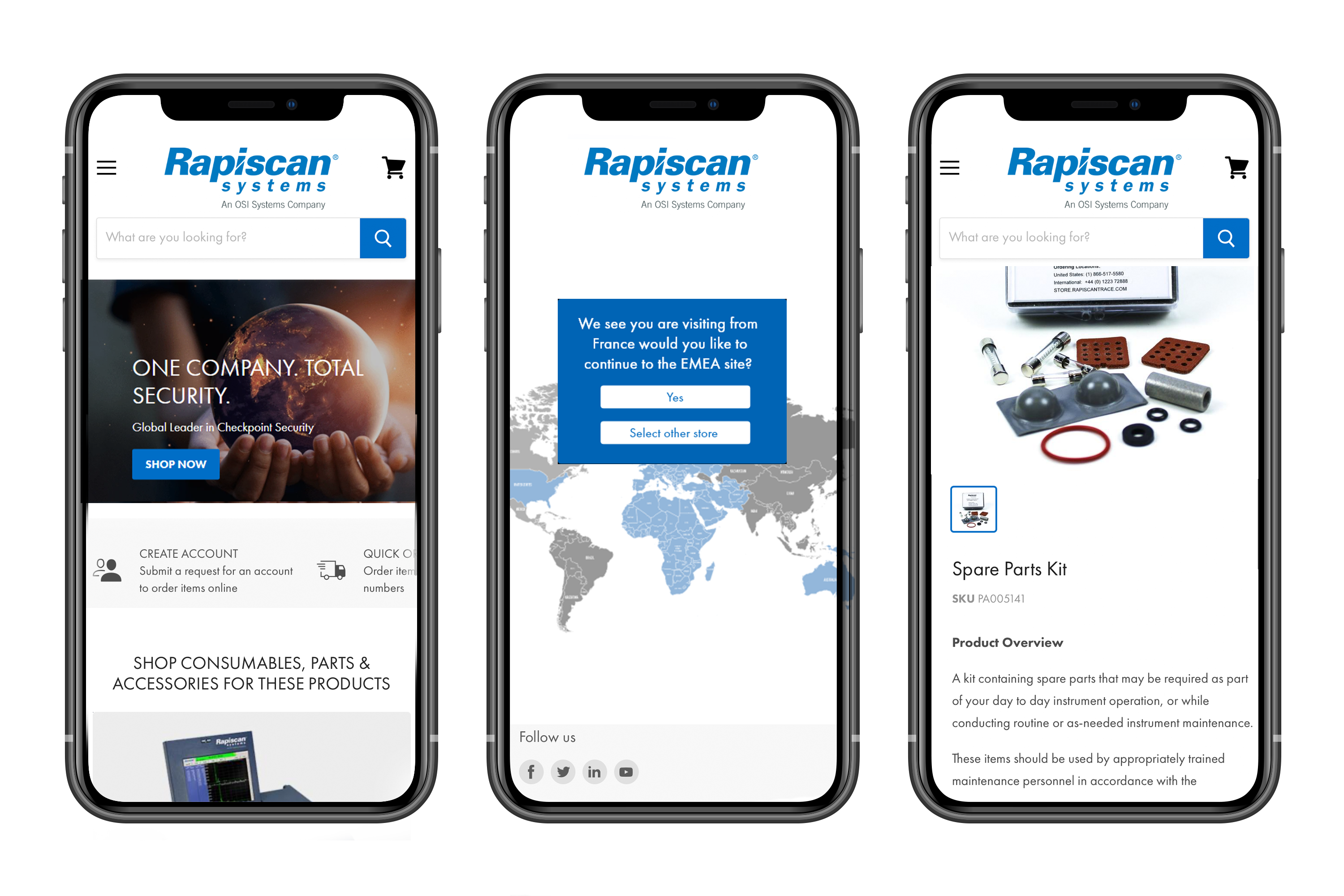 Rapiscan website on mobile devices