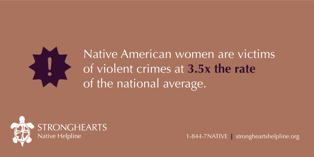 Native American women are victims of violent crimes at 3.5x the rate of the national average.