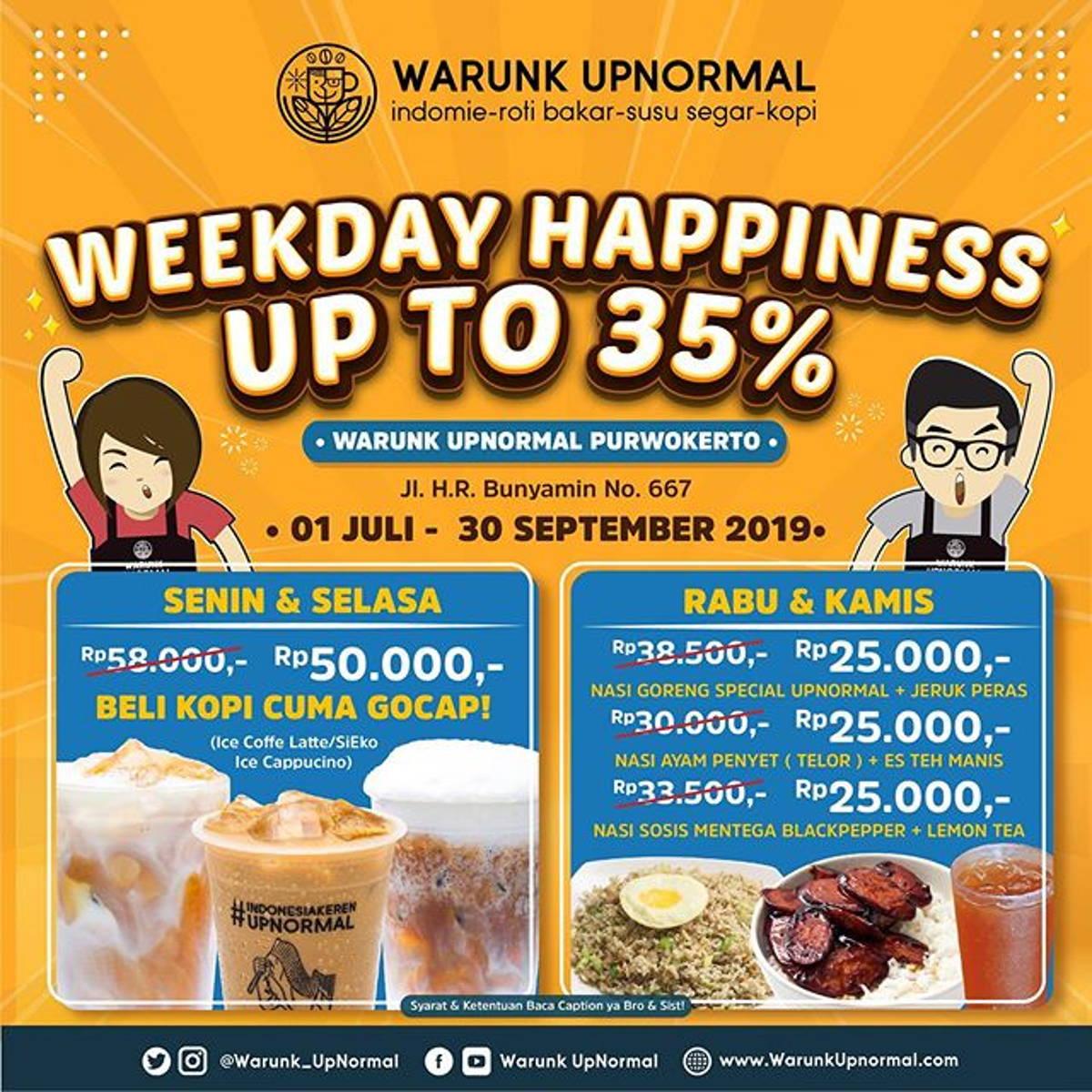 Katalog Promo: Warunk Upnormal Purwokerto: Promo WEEKDAY HAPPINES UP TO 35%! - 1