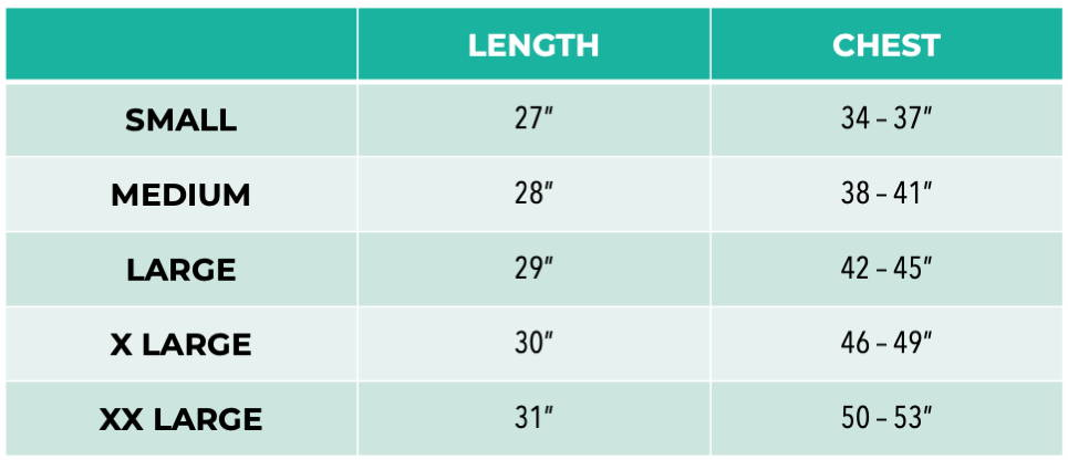 Pet It Forward Long Sleeve Sizing Chart