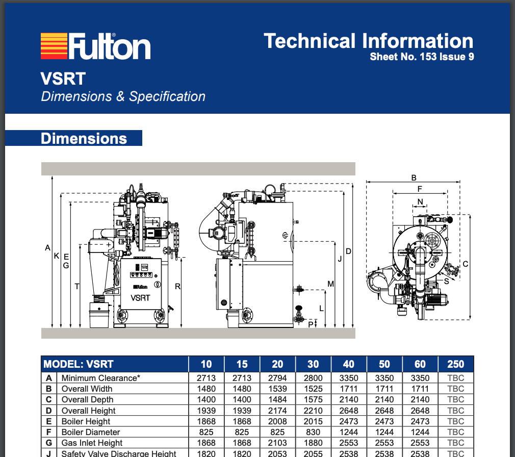 Fulton VSRT Technical Dimensions