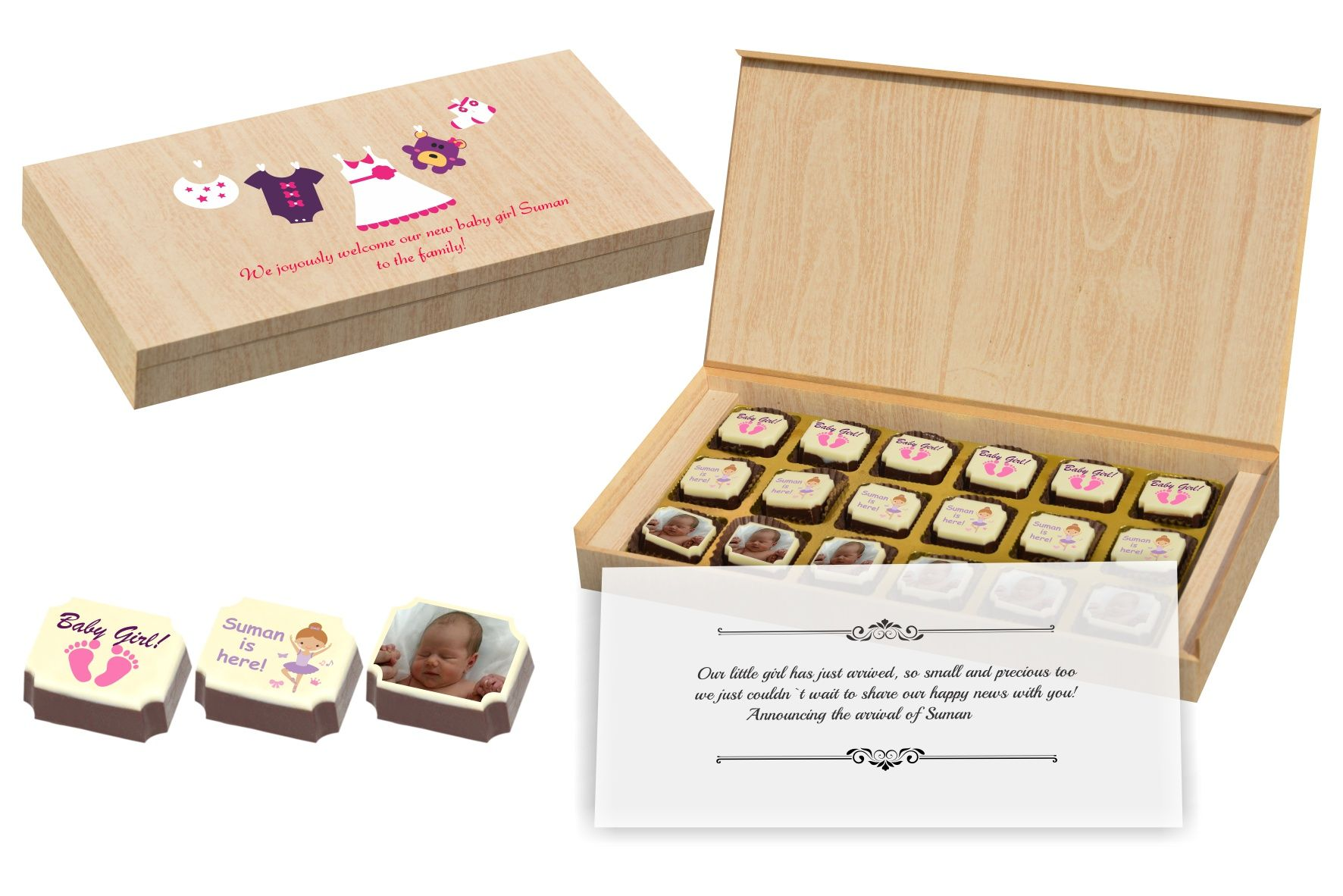 Customised chocolate gifts for new born baby girl announcement – New Born Baby Arrival Announcement Messages