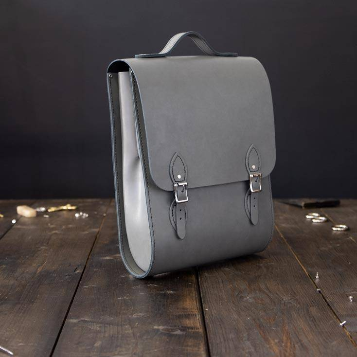 Grey Slimfit Leather Backpack