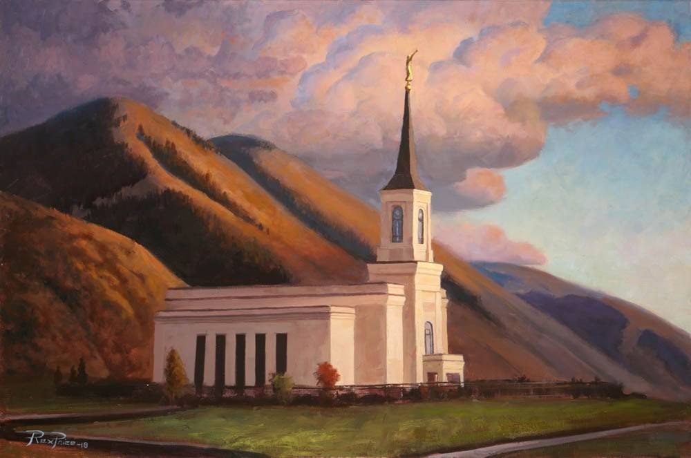LDS art painting of the Star Valley Wyoming Temple against the mountains