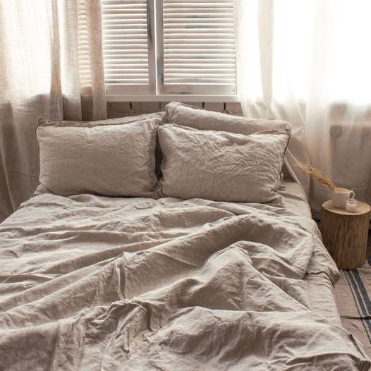Комплект постельного белья из льна 160х200, простой, неокрашенный лён