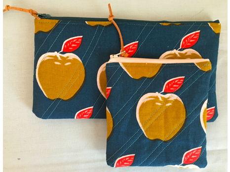 A Pair of Handmade Cotton & Linen zip pouches