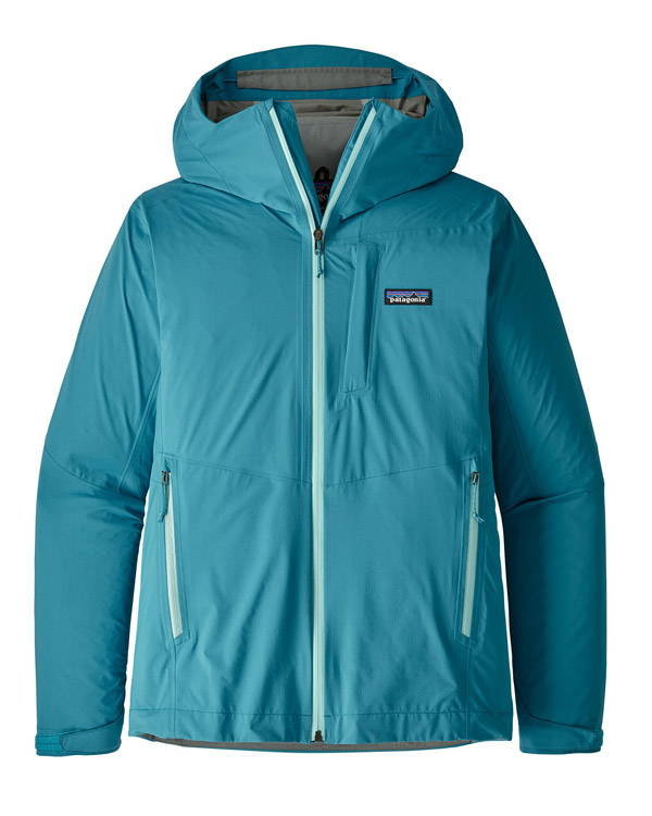 Turquoise women's recycled rain jacket with light blue detailing from Patagonia