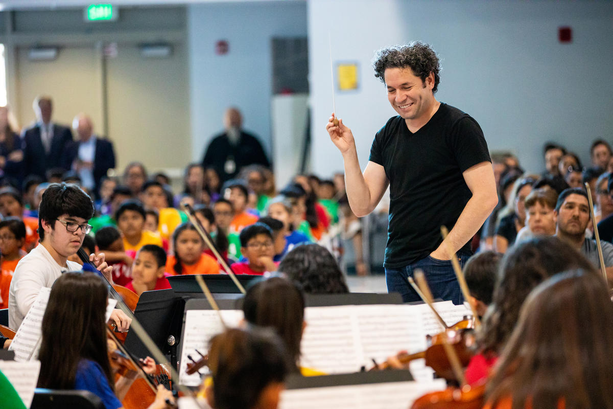 Gustavo Dudamel conducting YOLA students in East Los Angeles