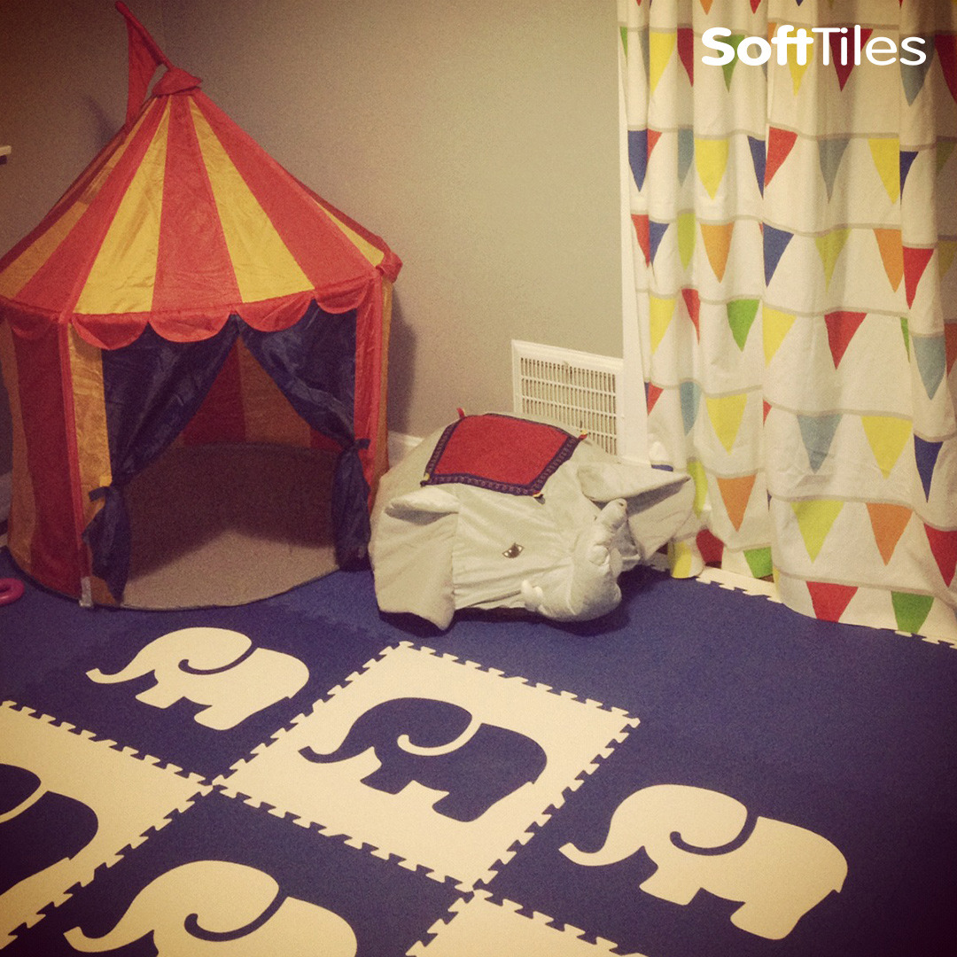 Playroom flooring baby floor mat tiles softtiles thank you for our beautiful new playroom we absolutely love the elephant and after an impromptu trip to ikea it has become a circus themed playroom dailygadgetfo Choice Image