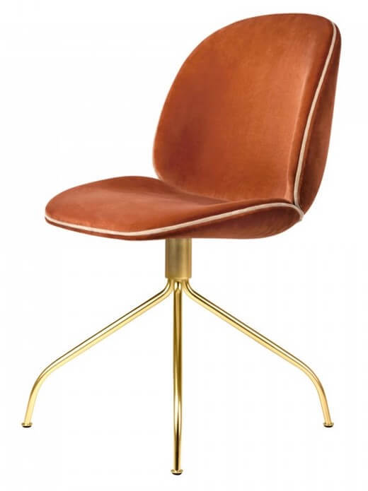 Gubi Beetle Upholstered Chair with Gold Metal Finish