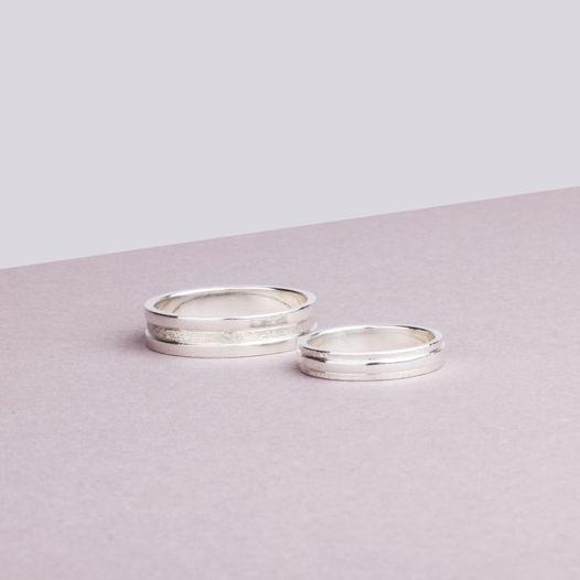 Обручальные кольца «Полосы» из белого золота