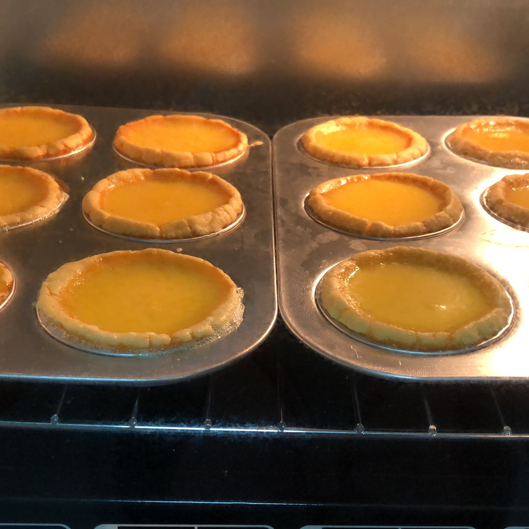 Chinese egg tarts in process
