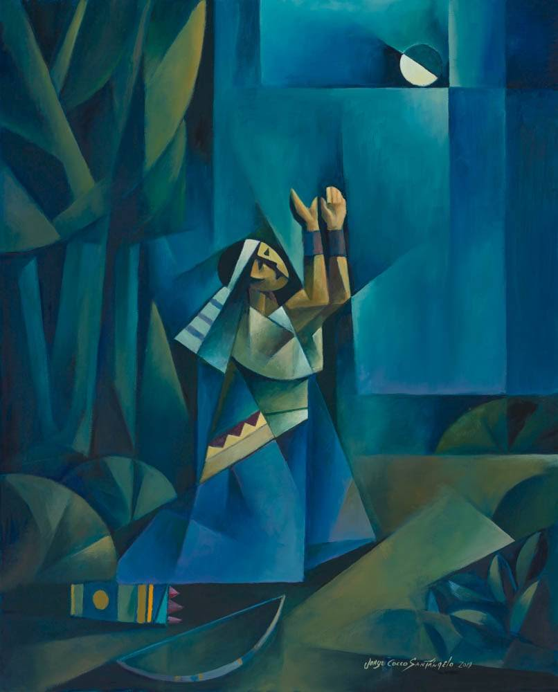 Blue-toned sacrocubism painting of Enos, a prophet from the Book of Mormon, praying.