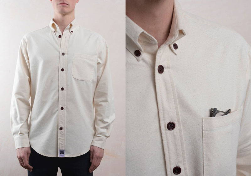 Man wearing men's white organic cotton brushed white shirt