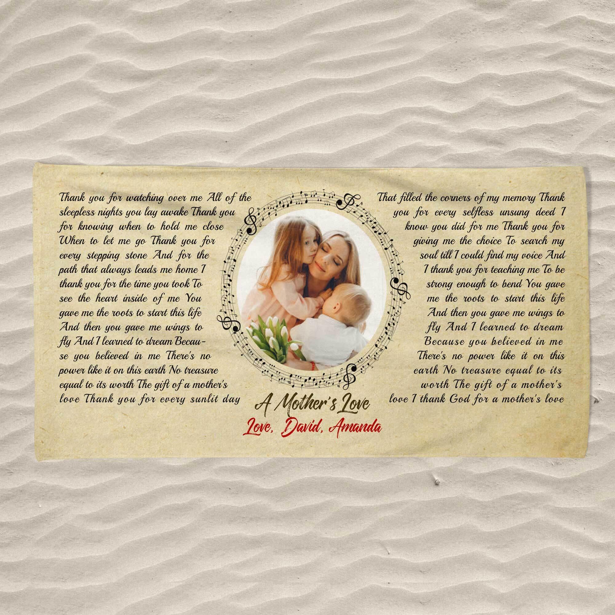Custom Song Lyrics, Upload Photo, Personalized Name, Date Towel