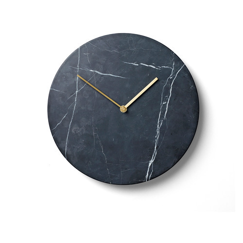 Black marble wall clock by Menu