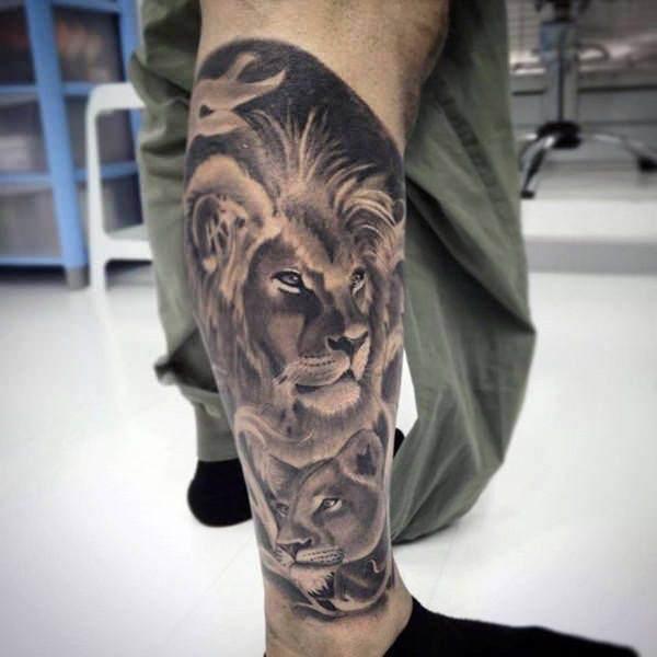 Tatouage Lion et Lionne Mollet