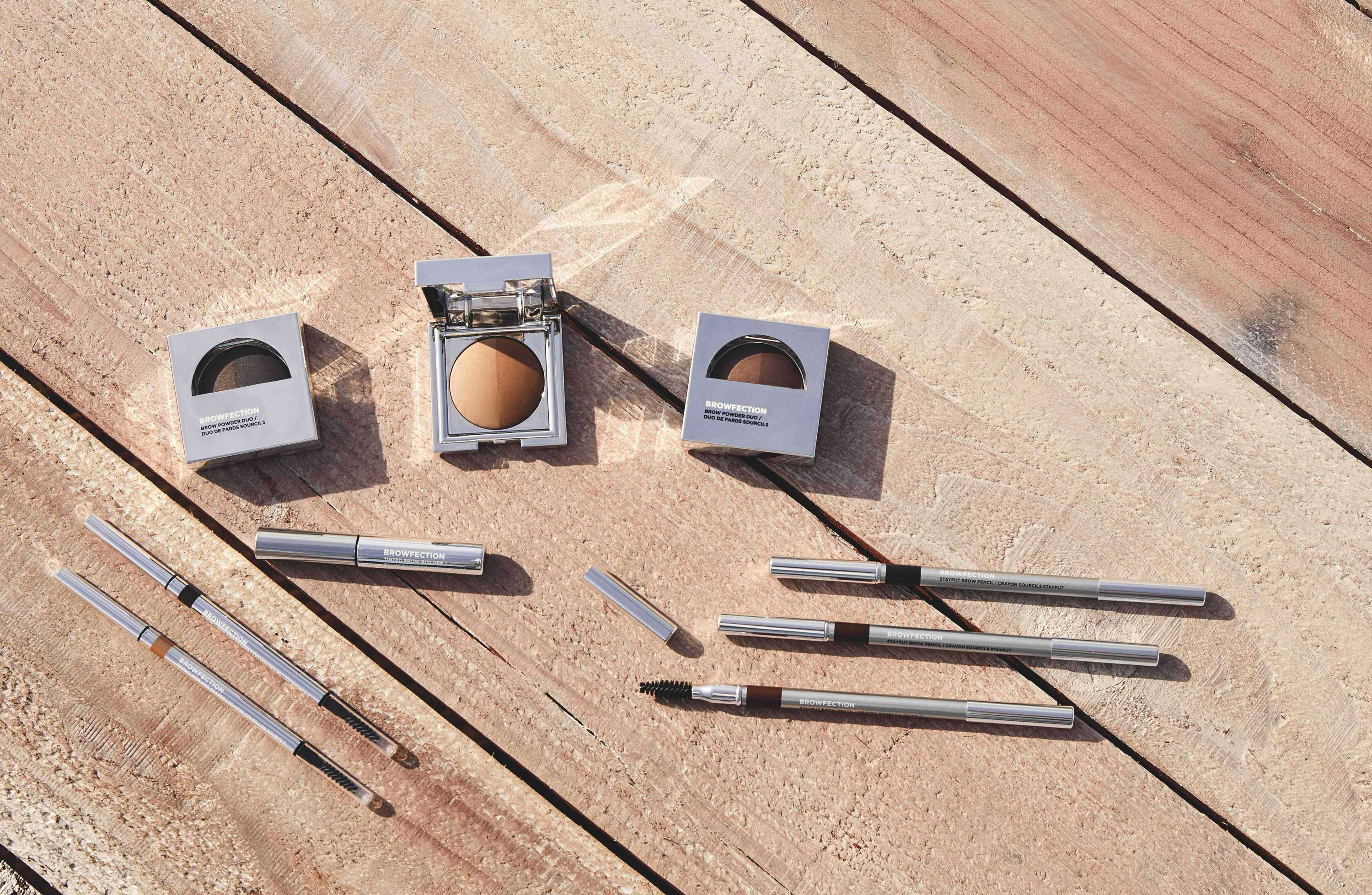 Display of European Wax Center's Strut Boldly® Brow Collection Products