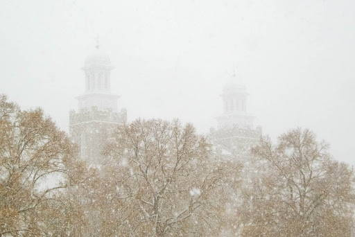 Foggy photograph of Logan Temple in winter.