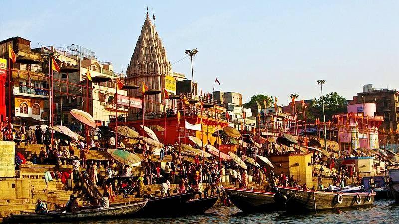 Morning bathers at Ganges Ghats, Varanasi, India