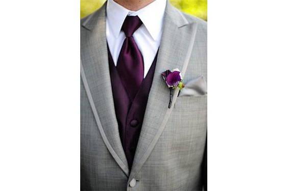 plum tie gray suit