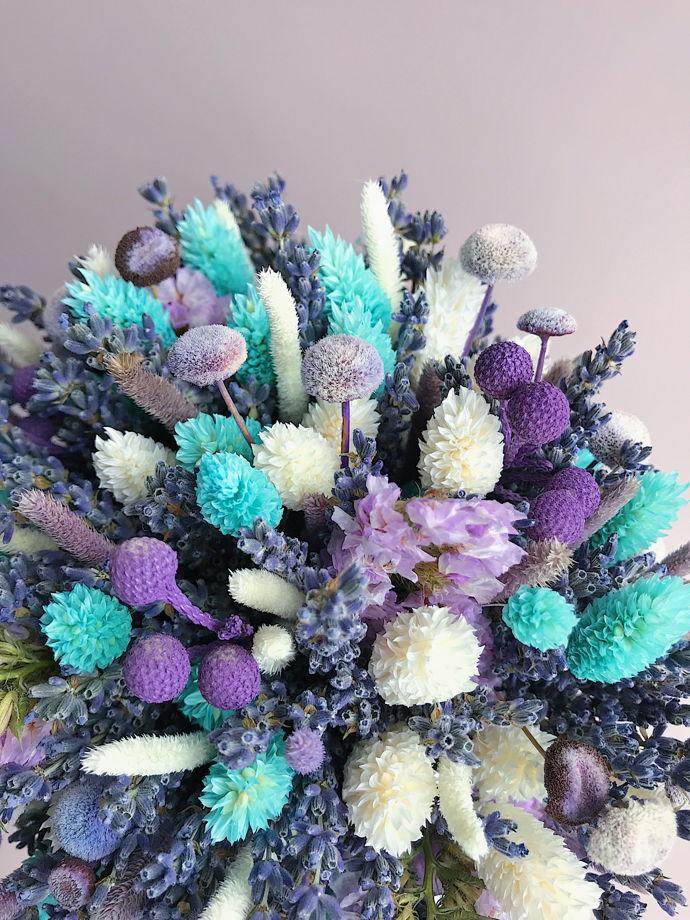 """Венок из сухоцветов """"Бирюза и Лаванда"""" свадебный"""
