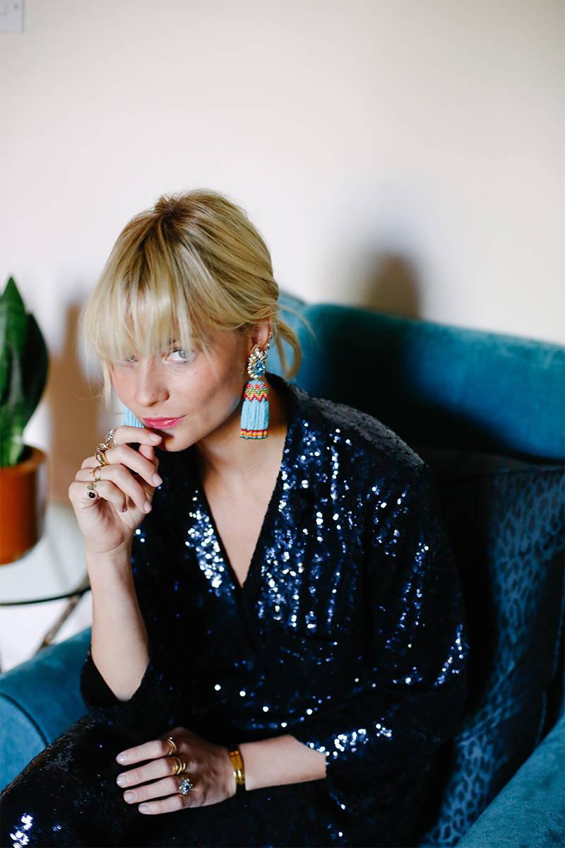 Pandora Sykes wears YOLKE Sequin Suit