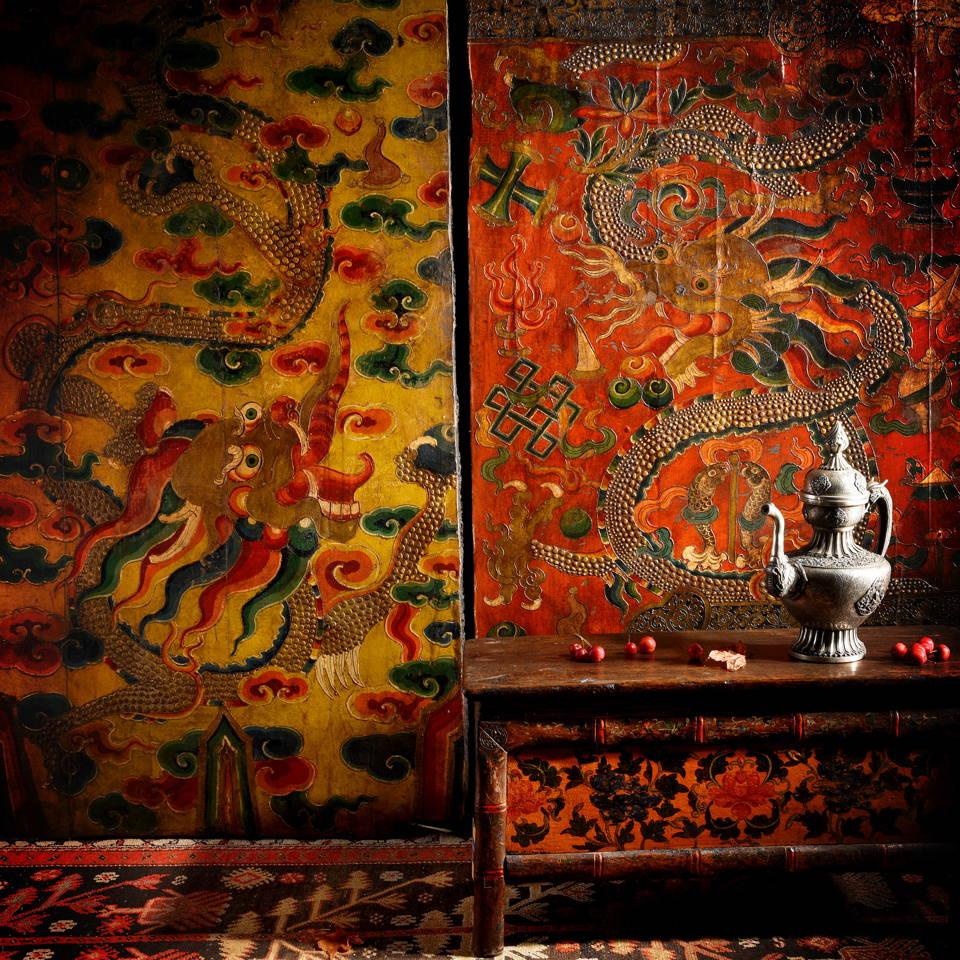 Shop Antique Painted Tibetan Antiques & Antique Furniture - Tibetan painted altar cabinets, prayer tables & Tibetan chests & boxes   Indigo Antiques