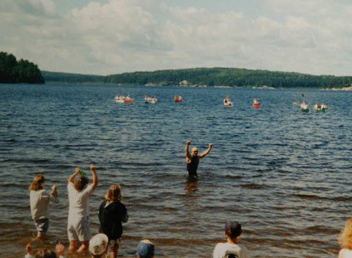 Quetico park Tom Hainey finishing the Breaking the Barrier swim