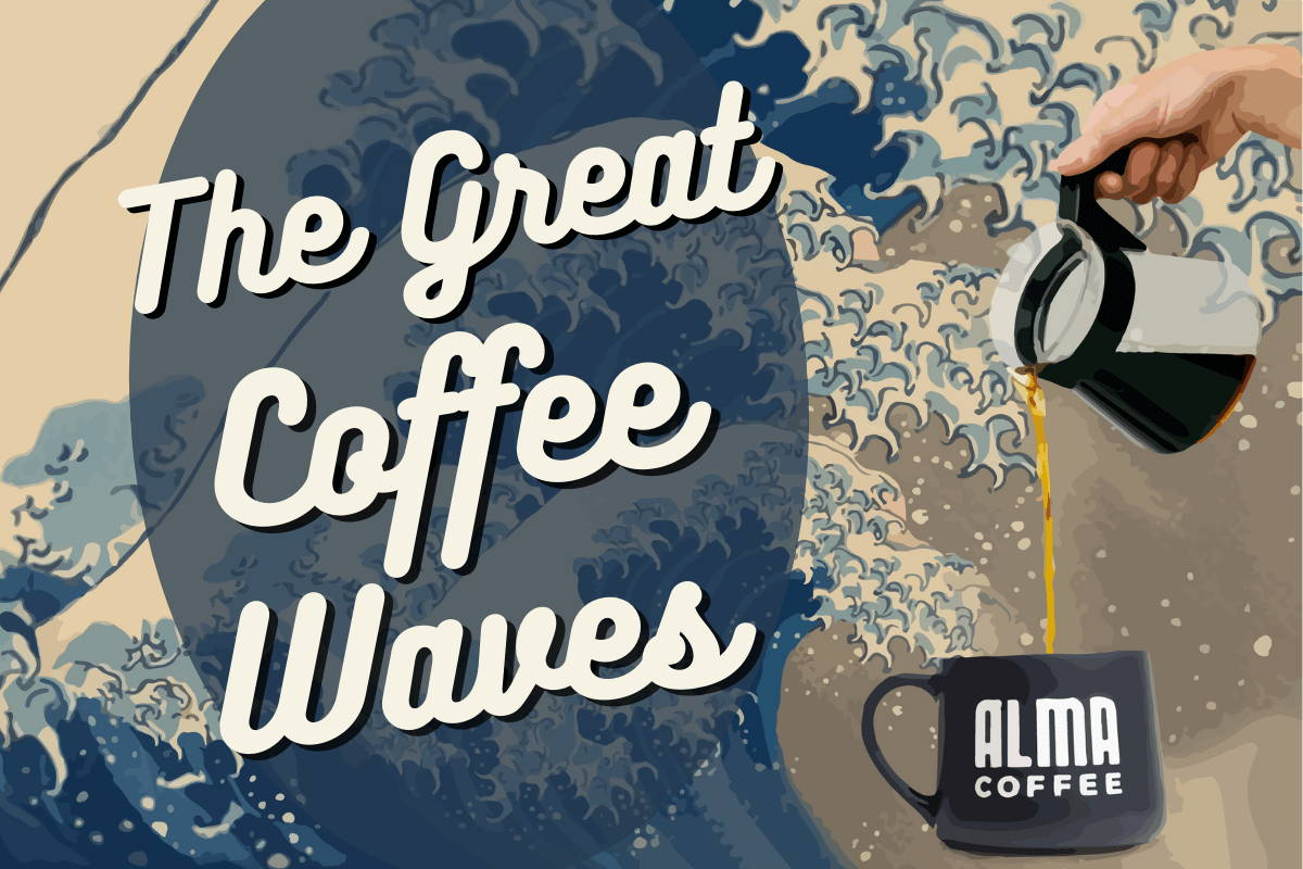 """Header of Blog: Text reads """"The Great Coffee Waves,"""" superimosed on the famous """"Great Wave"""" painting"""