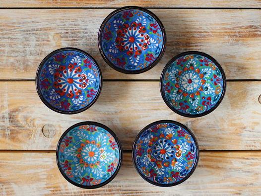 Набор голубых керамических соусниц (5 шт)