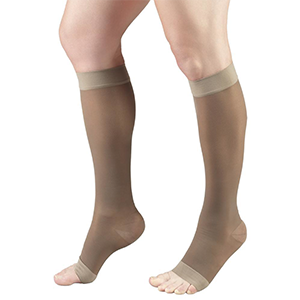 Ladies' Knee High Open Toe Sheer Stockings in Taupe