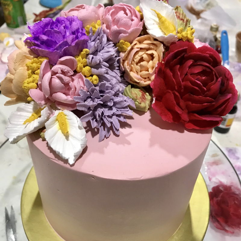 Cake decoration with fresh cream  flowers learnt from viet instructor