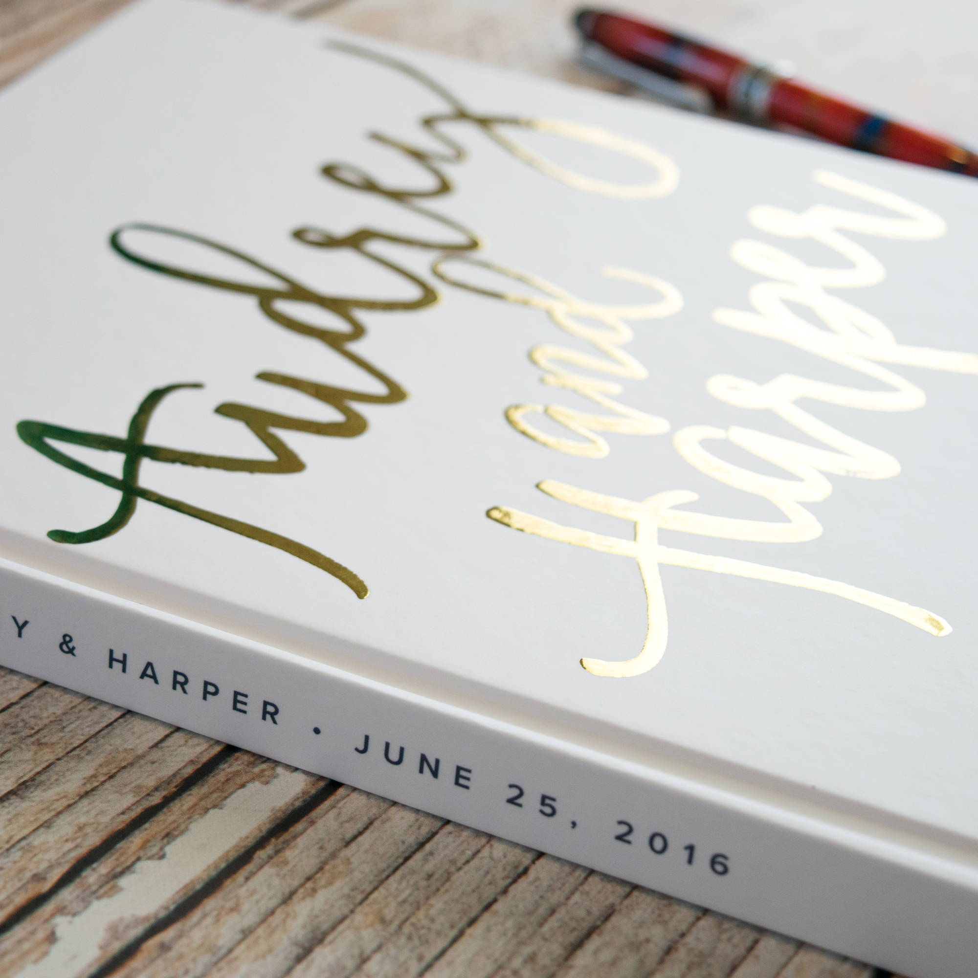 gold foil wedding guest book hardcover brush script