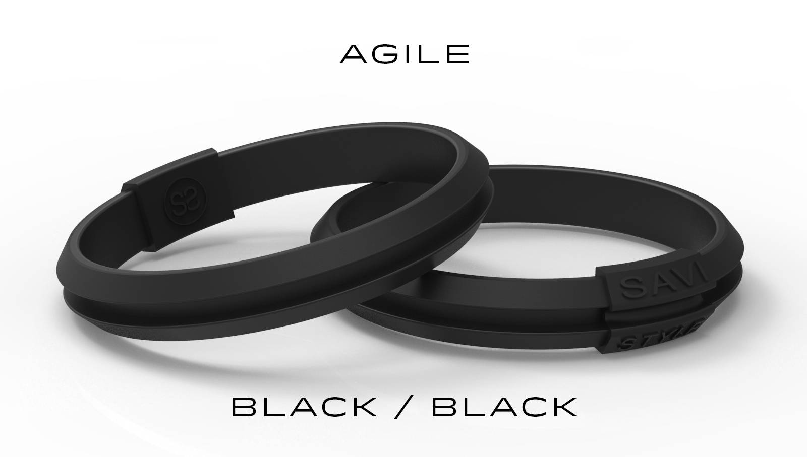 savi sleek agile black by savistyle hair tie bracelet stacked view