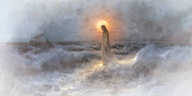 Watercolor panoramic of Jesus walking across a stormy sea, silhouetted against the moon.
