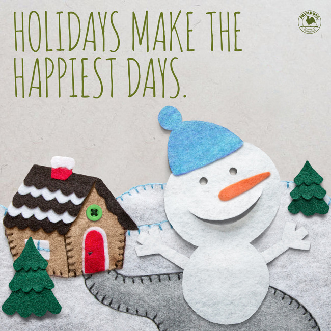 Happy holidays featuring a felt snowman cheering happily