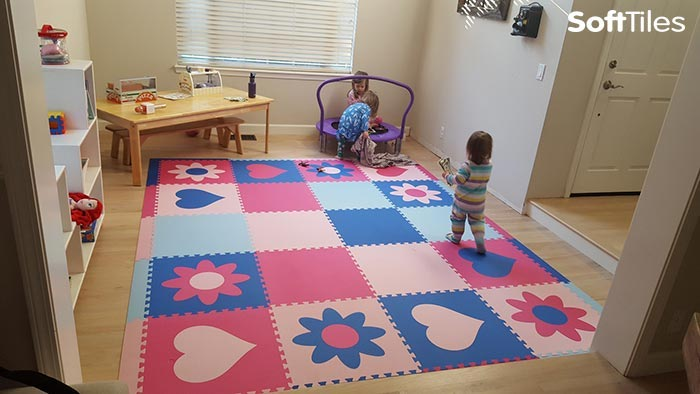 SoftTiles Girl's Playroom Floor- Hearts and Flowers Play Mat