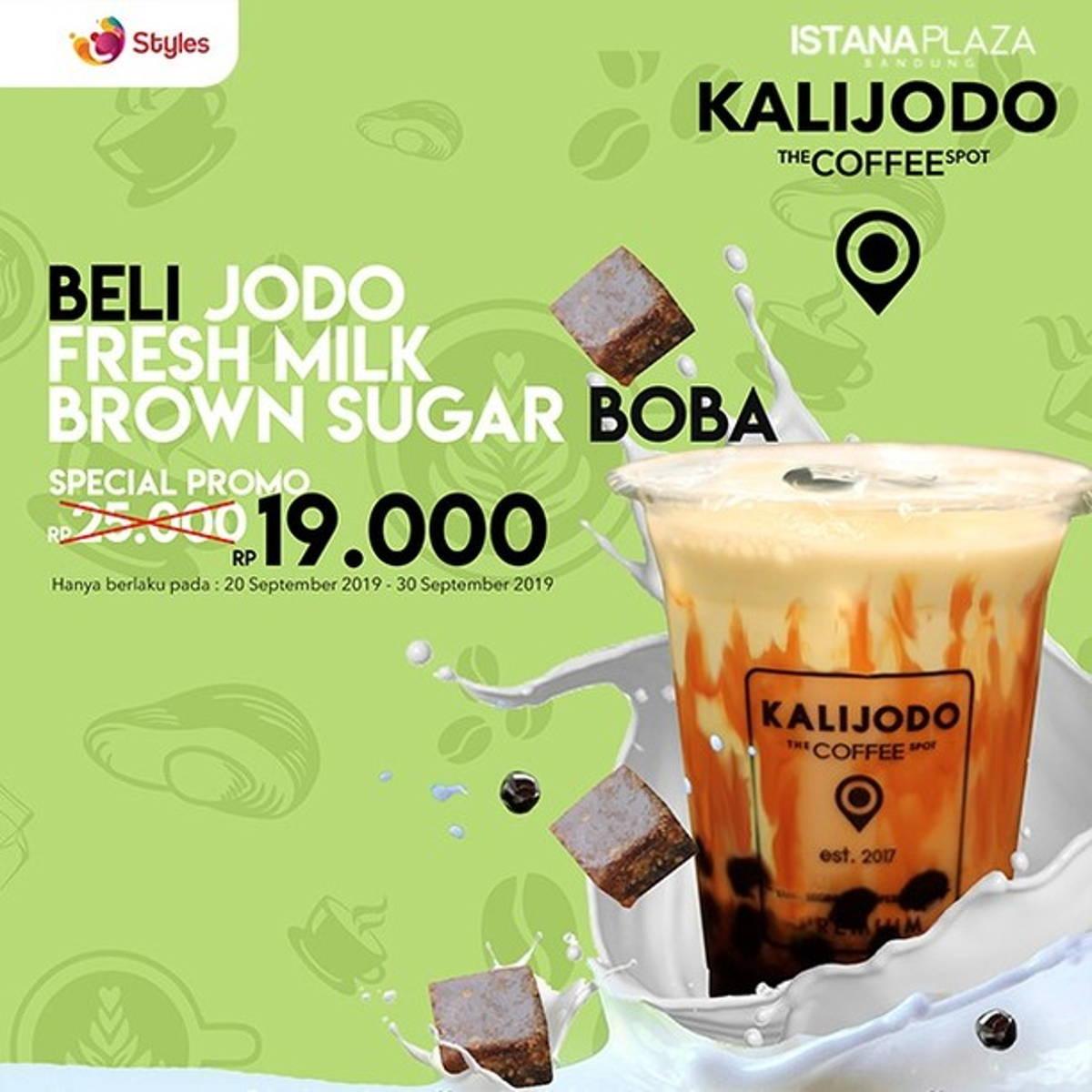 Katalog Promo: KALIJODO Coffee: Promo jodo fresh milk brown sugar boba CUMA Rp. 19.000- - 1