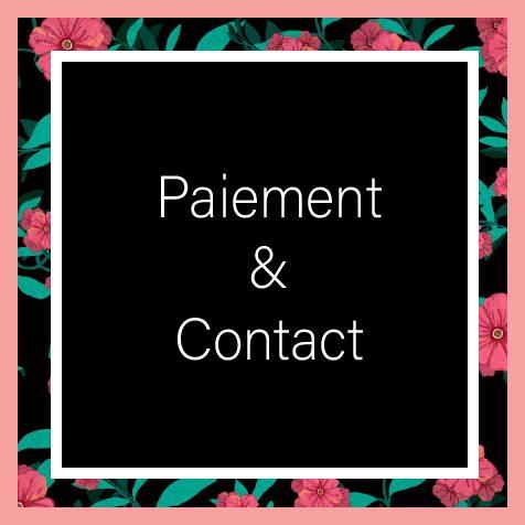 Il est écrit Paiement & Contact sur un fond noir et un contour de roses