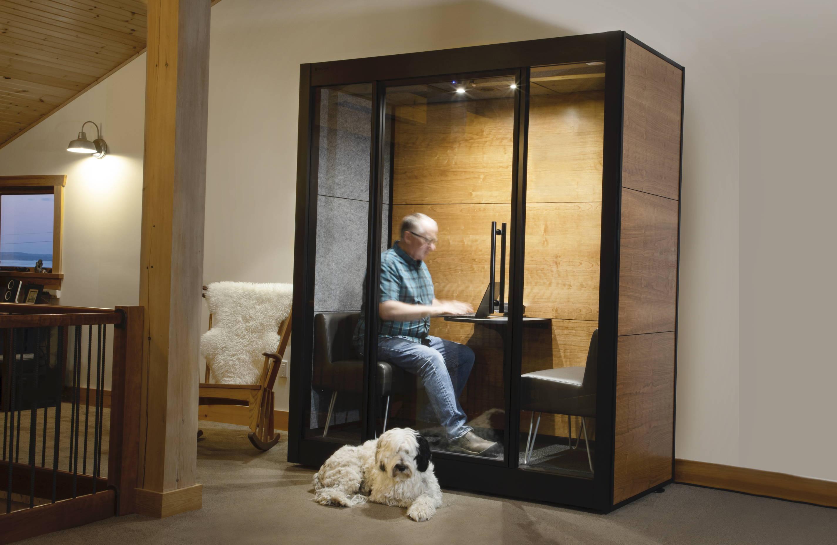 SnapCab's Meet 2 home office pod with wood grain laminate panels