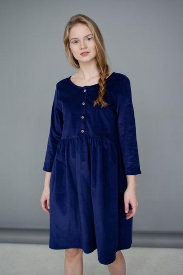 Платье вельветовое, синее