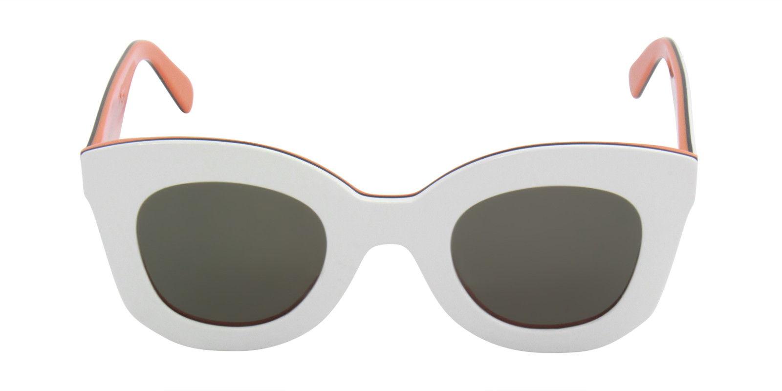 CELINE WOMEN'S CL41093S WHITE  GREEN LENS SUNGLASSES (front)