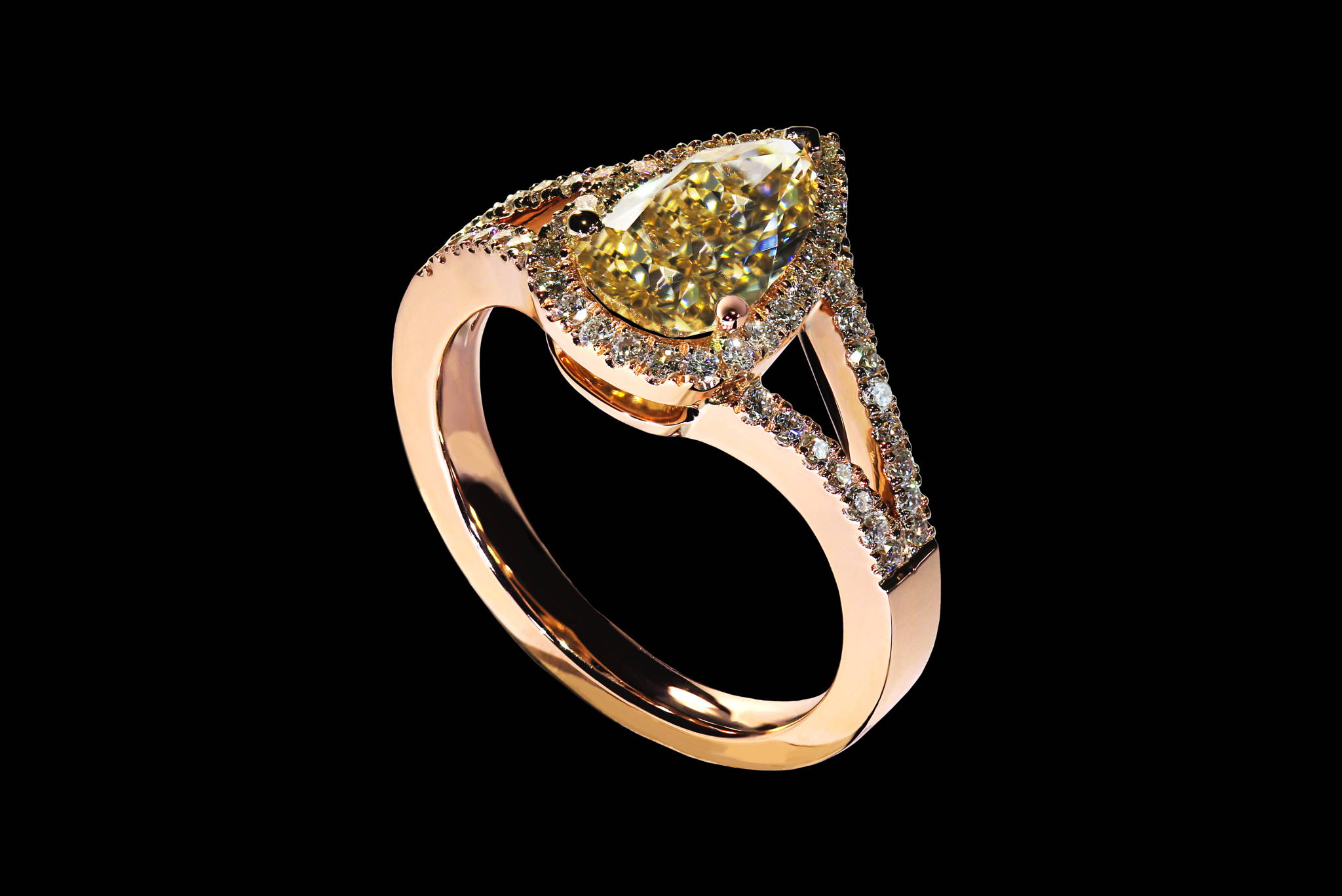 Champagne Sparkles Ring front view