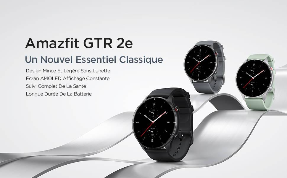 Amazfit GTR 2e - Un nouveau classique indispensable: Design fin et léger sans bords | Écran AMOLED HD toujours allumé Suivi complet de la santé et des exercices physiques | Autonomie de batterie ultra longue