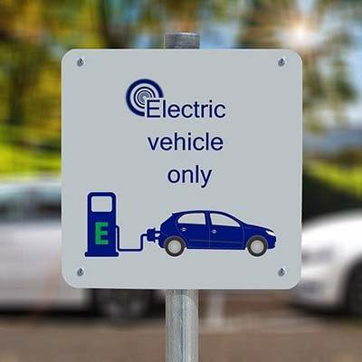 Sign indicating an electric vehicle only parking place