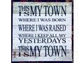 "'My Town' - 10"" x 10"" Reclaimed Wood Wall Art"