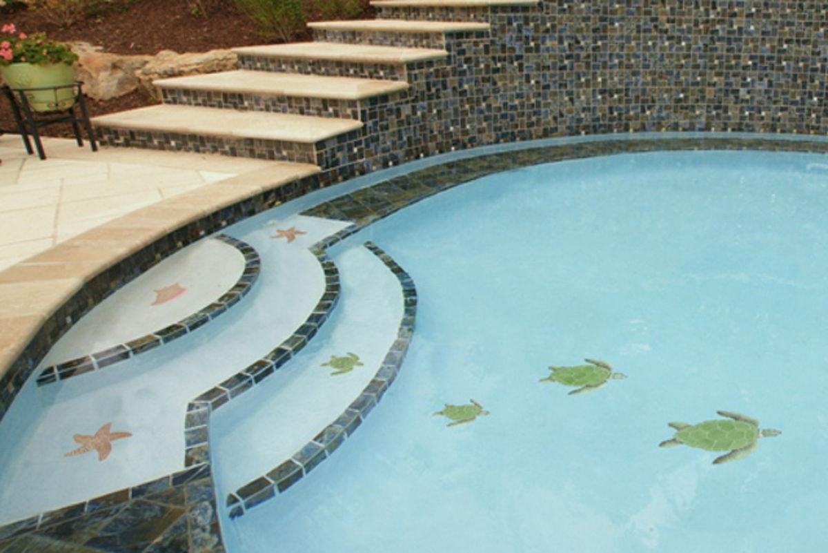 TLOGREL - Loggerhead Turtle Green Pool Mosaic