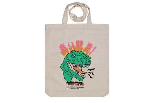 Сумка авоська с динозавром новогодняя